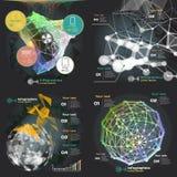 Καθορισμένο infographics με τα υγιή κύματα σε ένα σκοτεινό υπόβαθρο απεικόνιση αποθεμάτων