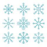 καθορισμένο snowflakes διάνυσμα Επίπεδα εικονίδια Στοκ Εικόνα