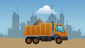 Καθορισμός άμμου HD φόρτωσης φορτηγών φορτίου διανυσματική απεικόνιση
