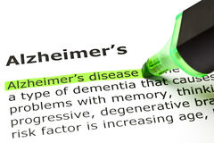 Καθορισμός ασθενειών του Alzheimer ` s στοκ εικόνες