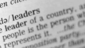 Καθορισμός λεξικών - ηγέτης απόθεμα βίντεο