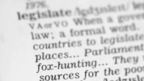 Καθορισμός λεξικών - νομοθεσία απόθεμα βίντεο