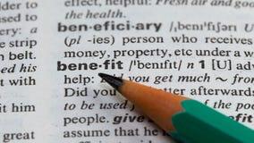 Καθορισμός λέξης οφελών στη σελίδα στο λεξιλόγιο, το επιχειρηματικό ενδιαφέρον και το εισόδημα απόθεμα βίντεο