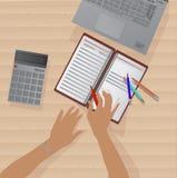 Καθορισμός μιας επιχειρησιακής ιδέας σε ένα σημειωματάριο διανυσματική απεικόνιση