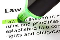 Καθορισμός νόμου στοκ εικόνα