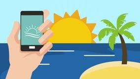 Καθορισμός Smartphone και παραλιών HD απεικόνιση αποθεμάτων