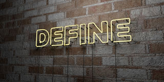 ΚΑΘΟΡΙΣΤΕ - Καμμένος σημάδι νέου στον τοίχο τοιχοποιιών - τρισδιάστατο δικαίωμα ελεύθερη απεικόνιση αποθεμάτων ελεύθερη απεικόνιση δικαιώματος