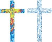 Καθολικός διακοσμημένος σταυρός για τις διακοπές Πάσχας ελεύθερη απεικόνιση δικαιώματος