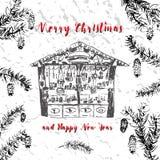 καθολικός Ιστός προτύπων σελίδων χαιρετισμού Χριστουγέννων καρτών ανασκόπησης Στοκ Φωτογραφίες