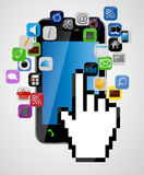 Καθολικό κινητό τηλέφωνο σχεδίου με το χέρι ποντικιών Στοκ Εικόνα
