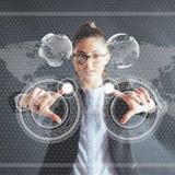 Καινοτόμες τεχνολογίες στην επιστήμη και την ιατρική Τεχνολογία που συνδέει Η έννοια της ασφάλειας στοκ εικόνες
