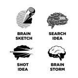 Καινοτόμος ιδέα ιδεών και έξυπνα πρότυπα εικονιδίων εγκεφάλου διανυσματικά απεικόνιση αποθεμάτων