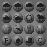 Καιρικά μαύρα εικονίδια Στοκ εικόνα με δικαίωμα ελεύθερης χρήσης