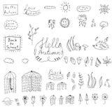 Καιρική συλλογή φθινοπώρου doodle Στοκ φωτογραφία με δικαίωμα ελεύθερης χρήσης