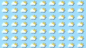 Καιρικοί εικονίδια, σύννεφα και ήλιος ελεύθερη απεικόνιση δικαιώματος