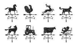 Καιρικό vane σκιαγραφία, καθορισμένα εικονίδια Windvane, weathervane σύμβολο ή λογότυπο Εκλεκτής ποιότητας διανυσματική απεικόνισ Στοκ Εικόνα