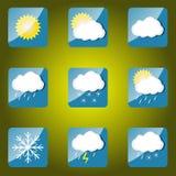 καιρός ήλιων βροχής εικονιδίων σύννεφων Ελεύθερη απεικόνιση δικαιώματος