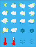 καιρός ήλιων βροχής εικονιδίων σύννεφων Στοκ Φωτογραφία