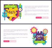 65 και 30 από τις αφίσες Promo ετικετών ασφαλίστρου καθορισμένες απεικόνιση αποθεμάτων