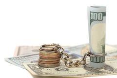 100 $, και η νόμισμα-σχετική αλυσίδα Στοκ Φωτογραφίες