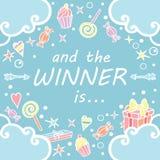 Και ο νικητής είναι Έμβλημα Giveaway για τους κοινωνικούς διαγωνισμούς μέσων Στοκ εικόνες με δικαίωμα ελεύθερης χρήσης