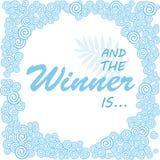 Και ο νικητής είναι Έμβλημα Giveaway για τους κοινωνικούς διαγωνισμούς μέσων Στοκ εικόνα με δικαίωμα ελεύθερης χρήσης