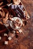 Κακάο με την κρέμα, την κανέλα, τα κομμάτια σοκολάτας και τα διάφορα καρυκεύματα στοκ φωτογραφίες με δικαίωμα ελεύθερης χρήσης