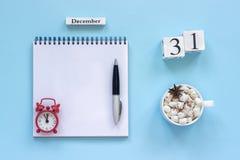 κακάο φλυτζανιών ημερολογιακών στις 31 Δεκεμβρίου και marshmallow, κενό ανοικτό σημειωματάριο στοκ φωτογραφία με δικαίωμα ελεύθερης χρήσης