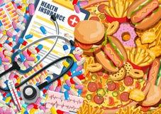 Κακές επιλογές απόφασης και θεραπειών διατροφής με τα φαρμακευτικά χάπια διανυσματική απεικόνιση