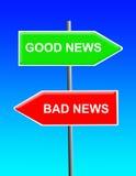 κακές καλές ειδήσεις Στοκ Φωτογραφία