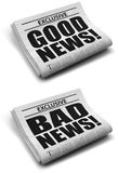 κακές καλές ειδήσεις Στοκ εικόνα με δικαίωμα ελεύθερης χρήσης