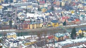 Κακές στέγες Ischl από την κορυφή βουνών, Αυστρία απόθεμα βίντεο