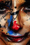 Κακή τέχνη προσώπου κλόουν για αποκριές Στοκ εικόνες με δικαίωμα ελεύθερης χρήσης
