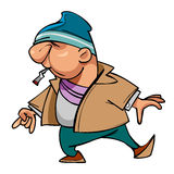 Κακοποιός τύπων χαρακτήρα κινουμένων σχεδίων με ένα τσιγάρο στο στόμα του Στοκ Εικόνες
