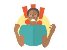 Κακός μαύρος μανίας στα γυαλιά Αγόρι στην οργή, οργή, έξαλλη συμπεριφορά Επίπεδο εικονίδιο σχεδίου Απλά editable απομονωμένη διαν διανυσματική απεικόνιση