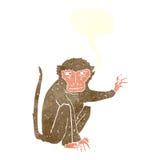 κακός πίθηκος κινούμενων σχεδίων με τη λεκτική φυσαλίδα Στοκ Φωτογραφία