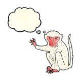 κακός πίθηκος κινούμενων σχεδίων με τη σκεπτόμενη φυσαλίδα Στοκ φωτογραφία με δικαίωμα ελεύθερης χρήσης