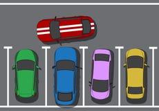 κακός χώρος στάθμευσης Εμποδίζοντας αυτοκίνητα Τοπ άποψη αυτοκινήτων επίσης corel σύρετε το διάνυσμα απεικόνισης Στοκ Εικόνα