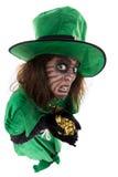 Κακό κορίτσι leprechaun που κρατά έναν θησαυρό, τους μύθους έννοιας και την οργή Στοκ φωτογραφία με δικαίωμα ελεύθερης χρήσης