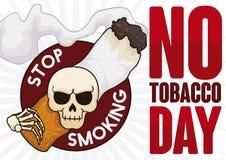 Κακό κρανίο που φέρνει ένα καπνίζοντας τσιγάρο για καμία ημέρα καπνών, διανυσματική απεικόνιση διανυσματική απεικόνιση