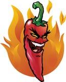 κακό κόκκινο πιπεριών τσίλ&iot Στοκ Εικόνα