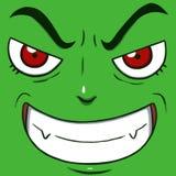 Κακό πρόσωπο χαμόγελου που απομονώνεται στο πράσινο χρώμα Στοκ εικόνες με δικαίωμα ελεύθερης χρήσης