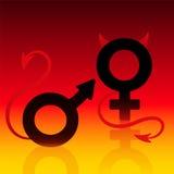 Κακό σημάδι κόλασης διαβόλων κοριτσιών αγοριών κακό ελεύθερη απεικόνιση δικαιώματος