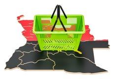 Καλάθι αγορών στο χάρτη της Ανγκόλα, καλάθι αγοράς ή αγοραστική δύναμη Στοκ εικόνες με δικαίωμα ελεύθερης χρήσης