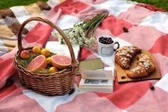 Καλάθι με το γκρέιπφρουτ και βερίκοκα, ένα γυαλί με ένα κεράσι, μια ανθοδέσμη των άσπρων λουλουδιών, δύο croissants σε έναν ξύλιν στοκ φωτογραφίες