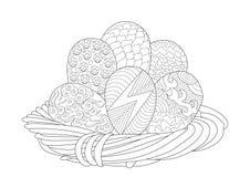 Καλάθι Πάσχας με 6 αυγά στο σχέδιο Zentangle διανυσματική απεικόνιση