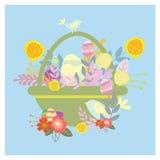 Καλάθι Πάσχας με τα αυγά Αστεία μικρά πουλιά διανυσματική απεικόνιση