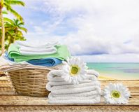 Καλάθι πλυντηρίων με τις πετσέτες Στοκ Φωτογραφία