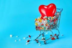 Καλάθι των χαπιών και της κόκκινης καρδιάς πρόσκληση συγχαρητηρίων καρτών ανασκόπησης στοκ φωτογραφίες