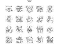 Καλά-επεξεργασμένα εικονοκυττάρου τέλεια διανυσματικά λεπτά εικονίδια γραμμών επιχειρησιακού εορτασμοί απεικόνιση αποθεμάτων